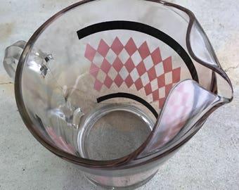 Vintage Pink Diamond with Black Stripe Pitcher by Hazel Atlas