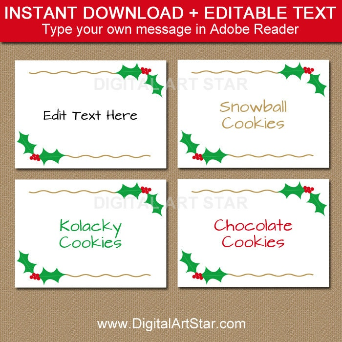 9 Best Images Of Printable Christmas Name Cards Place Card Templates