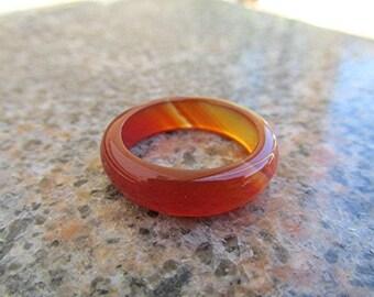 Gemstone ring red sardonyx ring red agate ring solid gemstone band solid gemstone ring agate band boho Wicca pagan healing gift.