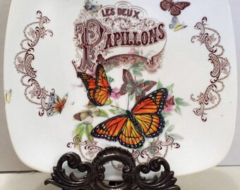 Cabinet Plate French Butterfly Papillons Monarch Vintage Scrolls Design New Victorian writing