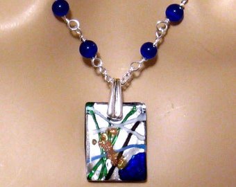 Lampwork Cobalt Blue Necklace, Lampwork Jewelry with Cats Eye and Pewter, Royal Blue Lampwork Necklace