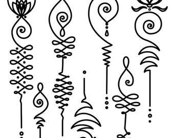 Sets Unalome & Lotus Temporary Tattoos