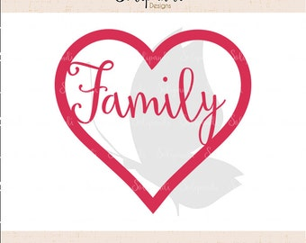 Heart 'Family' - SVG and DXF Cut Files - for Cricut, Silhouette, Die Cut Machines // scrapbooking // paper crafts // solipandi // #112