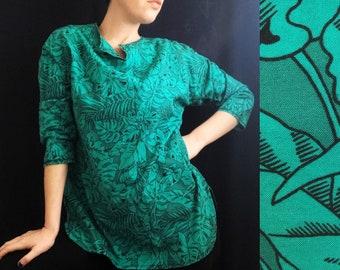 1970s Handmade Turquoise Emerald Flora Cocoon Tunic