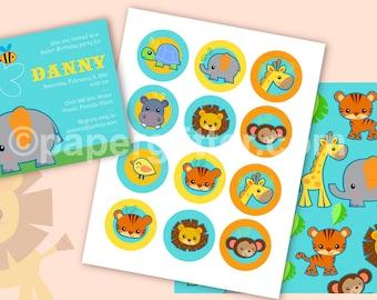 Jungle Safari Animal Printable Mini Party Kit - - Editable Text Printable PDF-You type in the text to personalize. Complete Set 0050