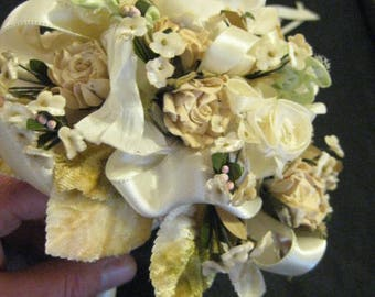 Romantic Hand Made Wedding Bridal Bouquet Vintage Tussie Mussie Ribbon Crochet Silk & Dried Flowers Chenille Leaves