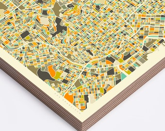 SAN FRANCISCO MAP (Ready to Hang, Birch Wood Print for your Home Décor)