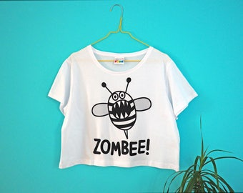 Zombee Crop Top, Zombie T-shirt, Women's Funny T-shirt, Bee Tshirt, Boxy Crop Top, Summer Cropped T-shirt, Girl's Cute Funny Tee, Silly Top