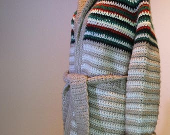 """Vintage Cowichan  Winter """"Boho Chic"""" Long Cardigan * One of a Kind *"""