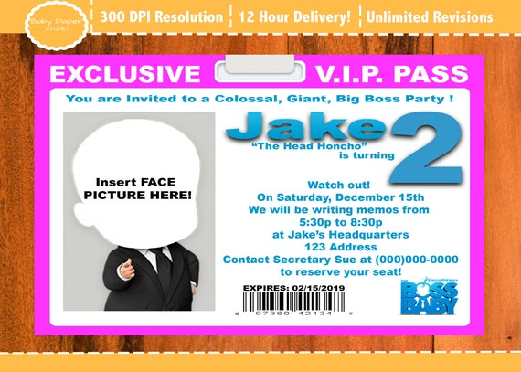 Boss Baby Party Invitations Movie Birthday Invites With VIP Pass In Pink Or Blue Add A Picture Too