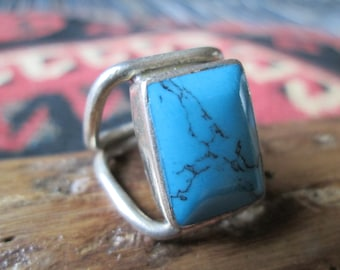 Turquoise and Sterling Ring Size 8.25