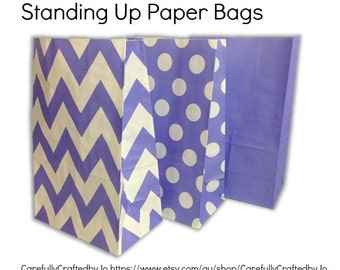 Set of 12, 24 Purple -Chevron, Polka Dots, Plain (Solid)Paper Bag Flat Bottom Bags, Gift Bags, Party, Lolly,Favour, Wedding, Packaging, Loot