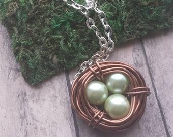 Copper Bird nest, copper nest necklace, mothers necklace, gift, bird nest necklace, gift for mom, bird nest pendant, three bird nest