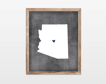 Arizona Chalkboard State Map 8x10 Art Print. Personalized Chalkboard Home Art Print. Arizona Map. Vacation Map Art Gift. Arizona Art Print.