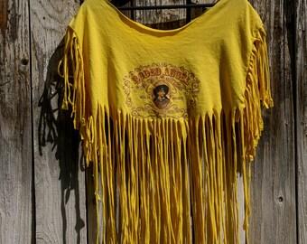 Vintage rodeo angel custom cut fringe t-shirt