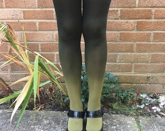 Kendall Woodland Fern Green Ombre Tights - More Colours - Lingerie - Dip Dye - Hosiery - Gradient - Black - Gift for Her - Women