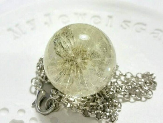 Make a wish necklace silver Dandelion necklace Sphere Unique Terrarium Real Seeds Resin orb pendant for bride 18th birthday gift real flower