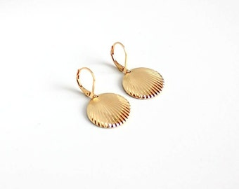 Shell earrings, plated with fine gold. Limited edition/ Gift for her