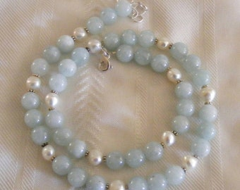 Beautiful Aquamarine Cultured Pearl Sterling silver Necklace