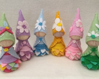 Single Flower Gnome, Waldorf Inspired, Wooden Peg Doll, Merino Wool Felt