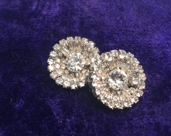Vintage Costume Diamond Clip-On Earrings