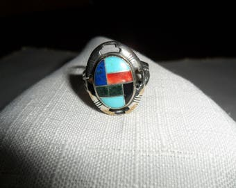 Vintage South Western Mosaic Sterling Silver Ring Size 9