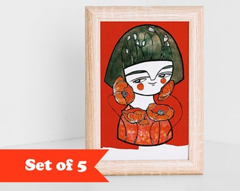 Girl with poppies postcards set of 5 red illustration