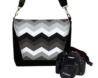 Dslr Camera Bag Purse for Women, Sony Nikon Canon Slr Camera Case, Chevron Messenger Bag, black white gray, zipper pocket RTS