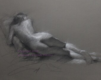 Classic Nude Drawing Recling Female Figure Back on Warm Charcoal Colored Paper