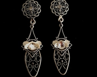 Mini Atlas Bone Crystal Drop Earrings
