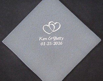 325 Custom printed beverage napkins wedding napkins party favors