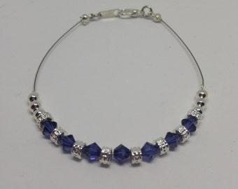 Purple Velvet (Dark Purple) Swarovski Crystal Anklet