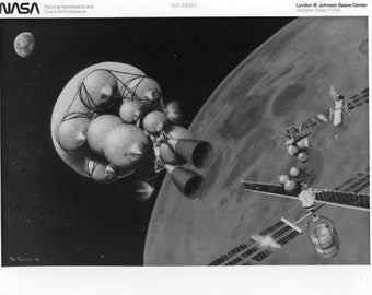 Vintage NASA Concept Photograh Lunar Mining / Original NASA 8x10 Press Photo - Artist Concept Moon Mining  ***1980's***