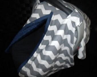 Carseat Canopy Minky Grey Chevron Navy Blanket Cover car seat canopy car seat cover nursing cover