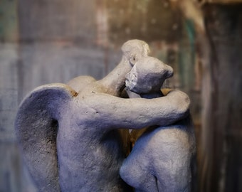Woman and Angel, Couple, in Gray/ Two Colored Ceramic Sculptures/ Unique