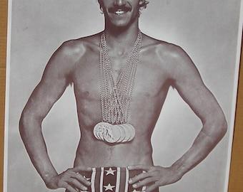 Vtg 1970's Beef Cake Mark Spitz Olympic Swimmer Poster