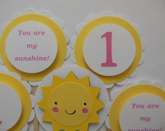 You Are My Sunshine 1st Birthday Cupcake Toppers - Yellow, Rose Pink and White - Girl Party Decorations - Set of 12