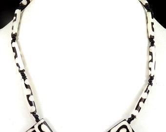 Batik Necklace Mudcloth Bone Beads Kenya Africa 79917