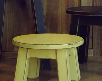 "painted, round stool, step stool, foot stool, riser, colors, yellow/ 8"" -10""H"