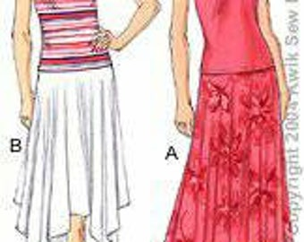 Kwik Sew 3243 Misses Tops and Skirts XS-XL New in Envelope