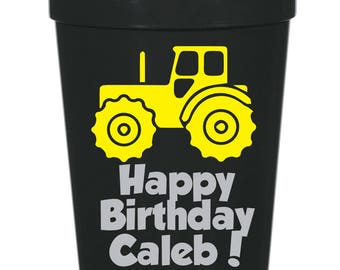 Construction Birthday- 16 oz. Reusable Plastic Stadium Cup- Minimum Purchase of 12 Cups!