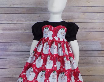 Girls Santa Dress, Christmas Dress, Red Christmas Dress, Girl, Red, Black, Short Sleeves, Zipper, Custom, Boutique, Big, Baby, Toddler, Teen
