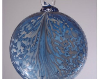 Aquamarine Blue Angel Feather Blown Glass Ornament 3.5 inches FREE SHIPPING