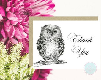 DIGITAL CARD Digital Thank You Card 5X7 Thank You Card Pdf Owl Print Owl Cards Instant Download Card Card Printable Thank You Card