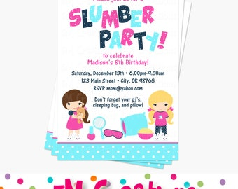 Slumber Party Invitation - Sleep Over Birthday Party Invitation- Printable Slumber Party Invite - Sleep Over Invite - navy blue pink aqua