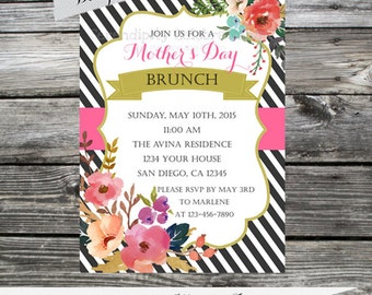12 Printed Invitations By Serendipity Celebrations - Watercolor Flowers -Birthday-Baby Shower-Mother's Day-Brunch-Bridal -Printing Service