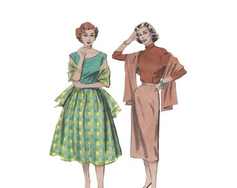 1950s Skirt and Wrap Pattern Butterick 6114 Wiggle Skirt or Bouffant Skirt Size 14 Waist 26 Quick & Easy Vintage Sewing Pattern