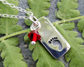 Tiny baby footprint and birthstone crystal necklace - custom colors - sterling silver- baby, new mom, memory charm - free shipping USA