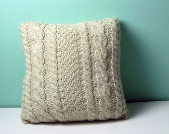 THE AVERAGE JANE Knitted square cable pillow cover - made-to-order Decorative, cabled throw pillow natural/ecru pillow cover
