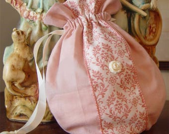 Purse, handbag, reticule, drawstring bag, quinceanera, prom, sweet sixteen, blush